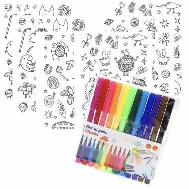 Feestwinkel | 6x sticker vellen om in te kleuren met 12 stiften voor