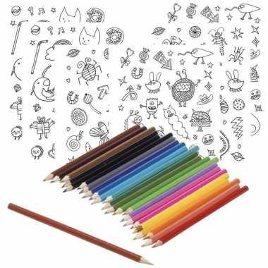 Feestwinkel   6x sticker vellen om in te kleuren met 24 potloden voor