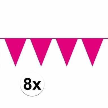 Feestwinkel | 8 stuks roze vlaggenlijnen groot 10 meter morgen amster