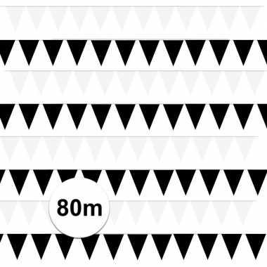 Feestwinkel | 80 meter zwart/witte buitenvlaggetjes morgen amsterdam