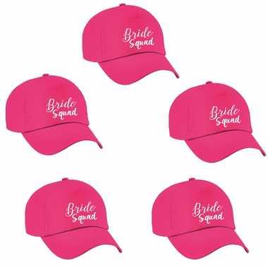 Feestwinkel   8x bride squad sierlijk vrijgezellen petje roze dames morgen amsterdam