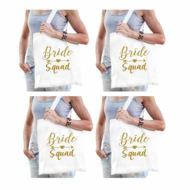 Feestwinkel   8x bride squad vrijgezellenfeest tasje wit goud dames morgen amsterdam