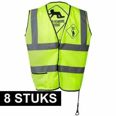 Feestwinkel | 8x geel veiligheidsvest drunken people voor heren morge