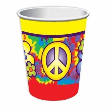 Feestwinkel   8x hippie drinkbekertjes 266 ml morgen amsterdam