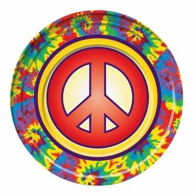 Feestwinkel | 8x hippie gebaksbordjes 22 cm morgen amsterdam
