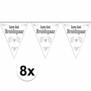 Feestwinkel | 8x leve het bruidspaar bruiloft versiering vlaggenlijn