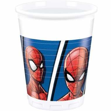 Feestwinkel | 8x marvel spiderman drinkbekers 200 ml kinderverjaardag