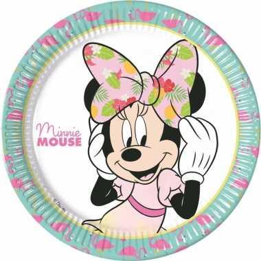 Feestwinkel | 8x minnie mouse eetbordjes/gebaksbordjes tropical kinde
