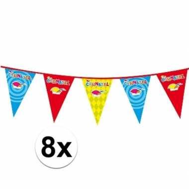 Feestwinkel | 8x plastic carnaval vlaggenlijnen morgen amsterdam