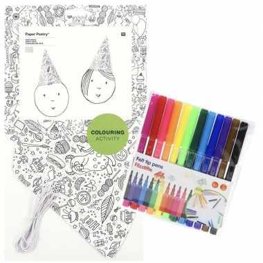 Feestwinkel | 8x punt hoedjes om in te kleuren met stiften voor kinde