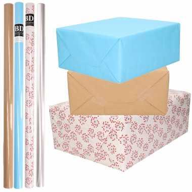 Feestwinkel | 8x rollen transparant folie/inpakpapier pakket - blauw/bruin/wit met hartjes 200 x 70 cm morgen amsterdam
