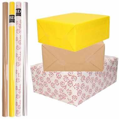 Feestwinkel   8x rollen transparant folie/inpakpapier pakket - geel/bruin/wit met hartjes 200 x 70 cm morgen amsterdam