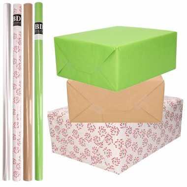 Feestwinkel   8x rollen transparant folie/inpakpapier pakket - groen/bruin/wit met hartjes 200 x 70 cm morgen amsterdam