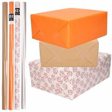 Feestwinkel | 8x rollen transparant folie/inpakpapier pakket - oranje/bruin/wit met hartjes 200 x 70 cm morgen amsterdam