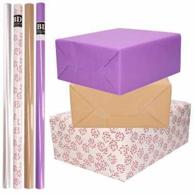 Feestwinkel | 8x rollen transparant folie/inpakpapier pakket - paars/bruin/wit met hartjes 200 x 70 cm morgen amsterdam