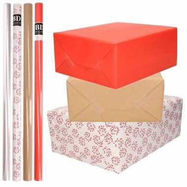 Feestwinkel | 8x rollen transparant folie/inpakpapier pakket - rood/bruin/wit met hartjes 200 x 70 cm morgen amsterdam