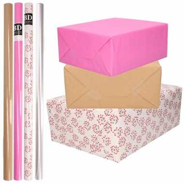 Feestwinkel | 8x rollen transparant folie/inpakpapier pakket - roze/bruin/wit met hartjes 200 x 70 cm morgen amsterdam