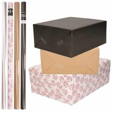 Feestwinkel | 8x rollen transparant folie/inpakpapier pakket - zwart/bruin/wit met hartjes 200 x 70 cm morgen amsterdam