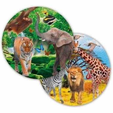 Feestwinkel | 8x safari/jungle gebaksbordjes 23 cm morgen amsterdam