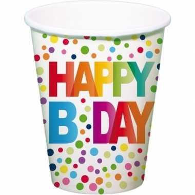Feestwinkel | 8x verjaardag feestbekertjes b-day 13 cm morgen amsterd