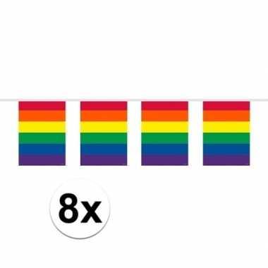 Feestwinkel | 8x vierkante regenboog vlaggenlijnen van 10 meter morge