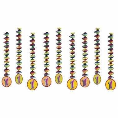 Feestwinkel   9x feestartikelen 1 jaar spiralen versieringen morgen a