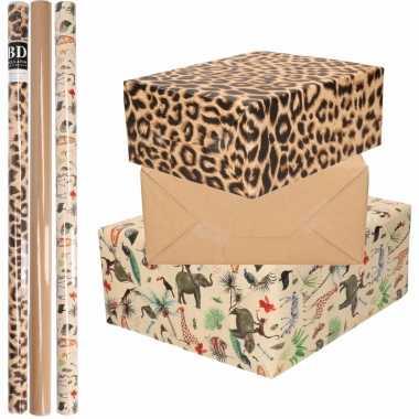 Feestwinkel | 9x rollen kraft inpakpapier jungle/panter pakket - dieren/luipaard/bruin 200 x 70 cm morgen amsterdam