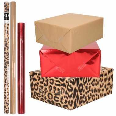 Feestwinkel   9x rollen kraft inpakpapier pakket dierenprint/metallic rood en bruin 200 x 70/50 morgen amsterdam