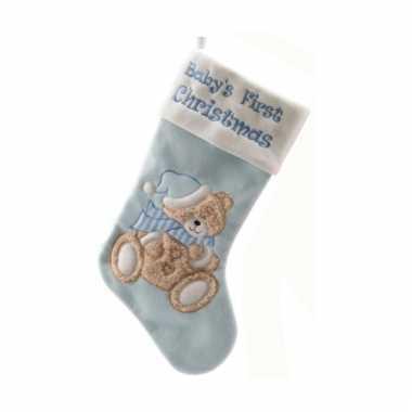 Babyblauwe kerstsok 45 cm