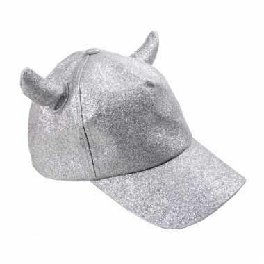 Feestwinkel | baseball cap met hoorntjes zilver morgen amsterdam