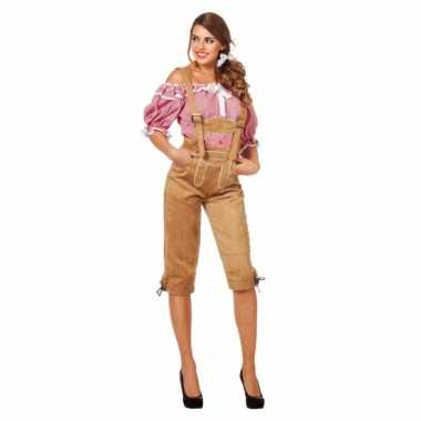 Beige oktoberfest lederhose voor dames