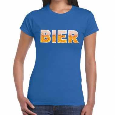 Feestwinkel   bier fun t-shirt blauw voor dames morgen amsterdam