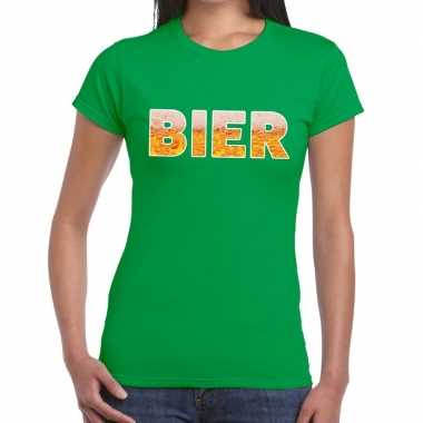 Feestwinkel | bier fun t-shirt groen voor dames morgen amsterdam