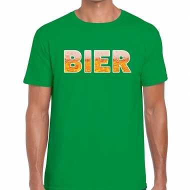 Feestwinkel   bier fun t-shirt groen voor heren morgen amsterdam