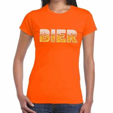 Feestwinkel | bier fun t-shirt oranje voor dames morgen amsterdam