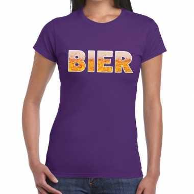 Feestwinkel | bier fun t-shirt paars voor dames morgen amsterdam