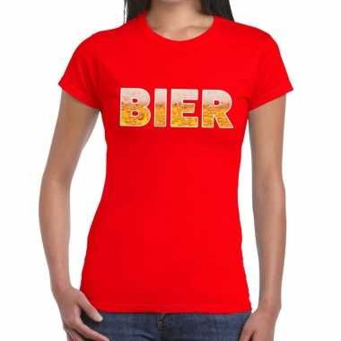 Feestwinkel   bier fun t-shirt rood voor dames morgen amsterdam
