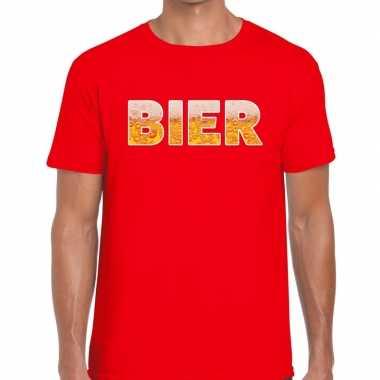 Feestwinkel | bier fun t-shirt rood voor heren morgen amsterdam