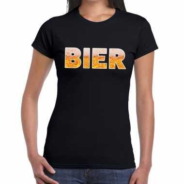 Feestwinkel | bier fun t-shirt zwart voor dames morgen amsterdam