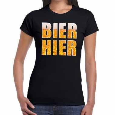 Feestwinkel   bier hier fun t-shirt zwart voor dames morgen amsterdam