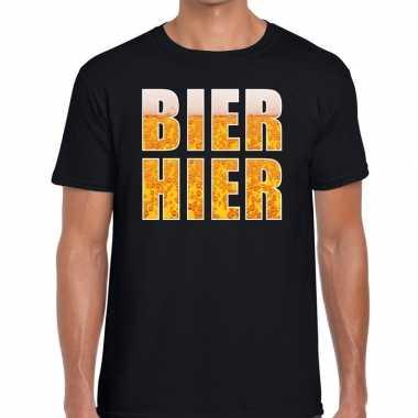 Feestwinkel | bier hier fun t-shirt zwart voor heren morgen amsterdam