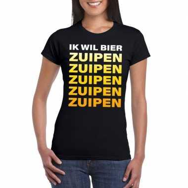 Feestwinkel   bier zuipen fun t-shirt zwart voor dames morgen amsterd