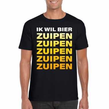 Feestwinkel | bier zuipen fun t-shirt zwart voor heren morgen amsterd