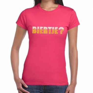 Feestwinkel | biertje fun t-shirt roze voor dames morgen amsterdam