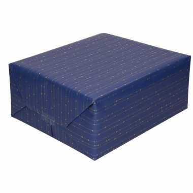 Feestwinkel | blauw cadeaupapier met gouden lijnen 70 x 200 cm morgen