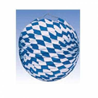Blauw wit geblokte lampionnen 25 cm