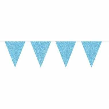 Feestwinkel | blauwe babyshower vlaggenlijn met glitters 10 meter mor