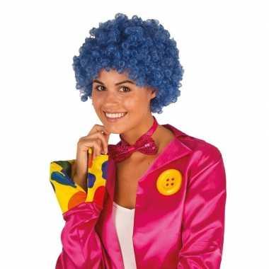 Blauwe krullen clownspruik verkleed accessoire