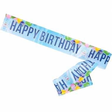 Blauwe verjaardag banner afzetlint happy birthday 10 meter