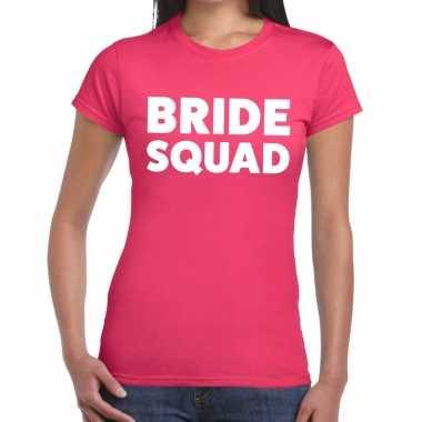 Feestwinkel | bride squad fun t-shirt roze voor dames morgen amsterda